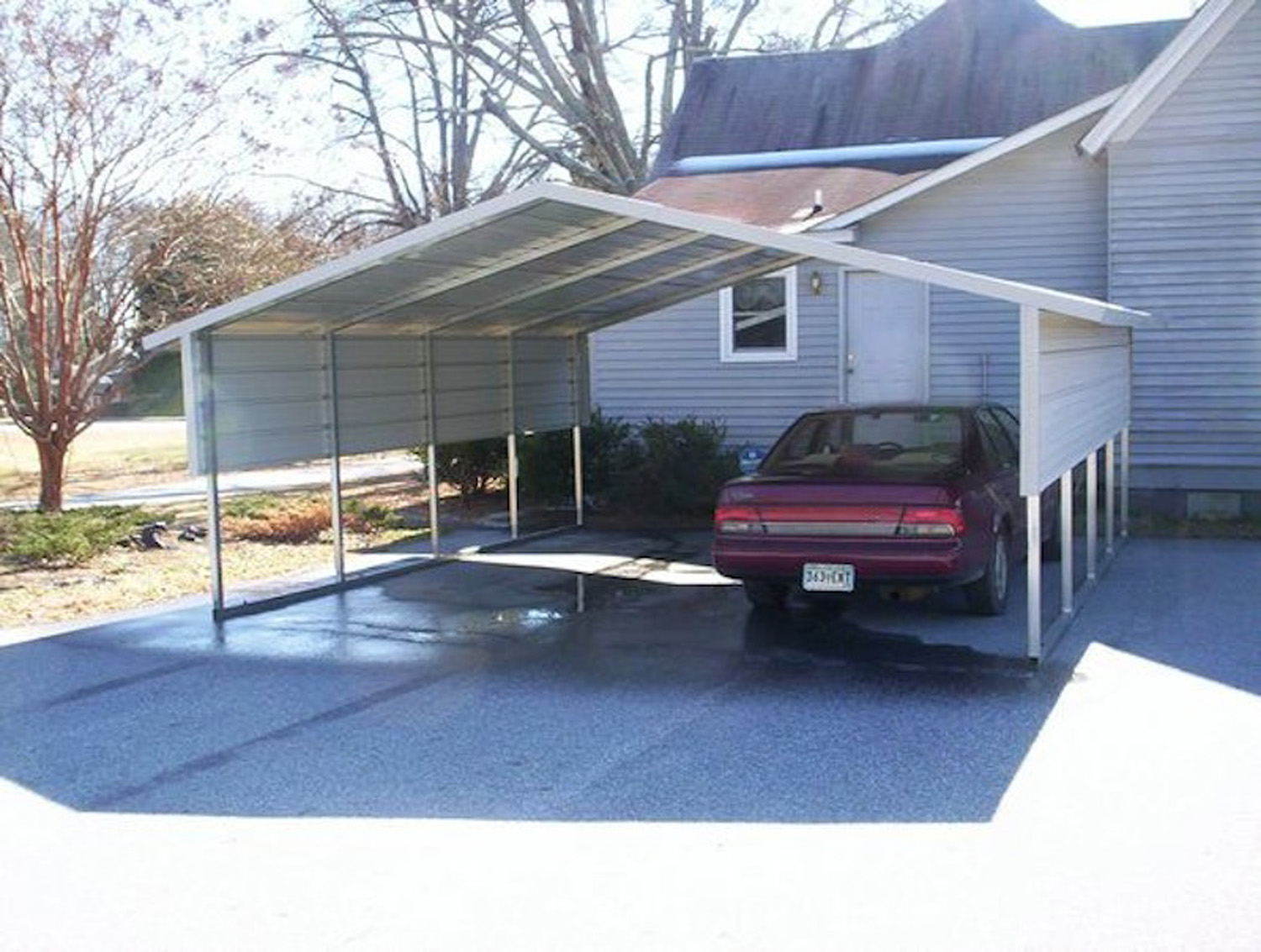 White Carport Boxed Eave A Frame