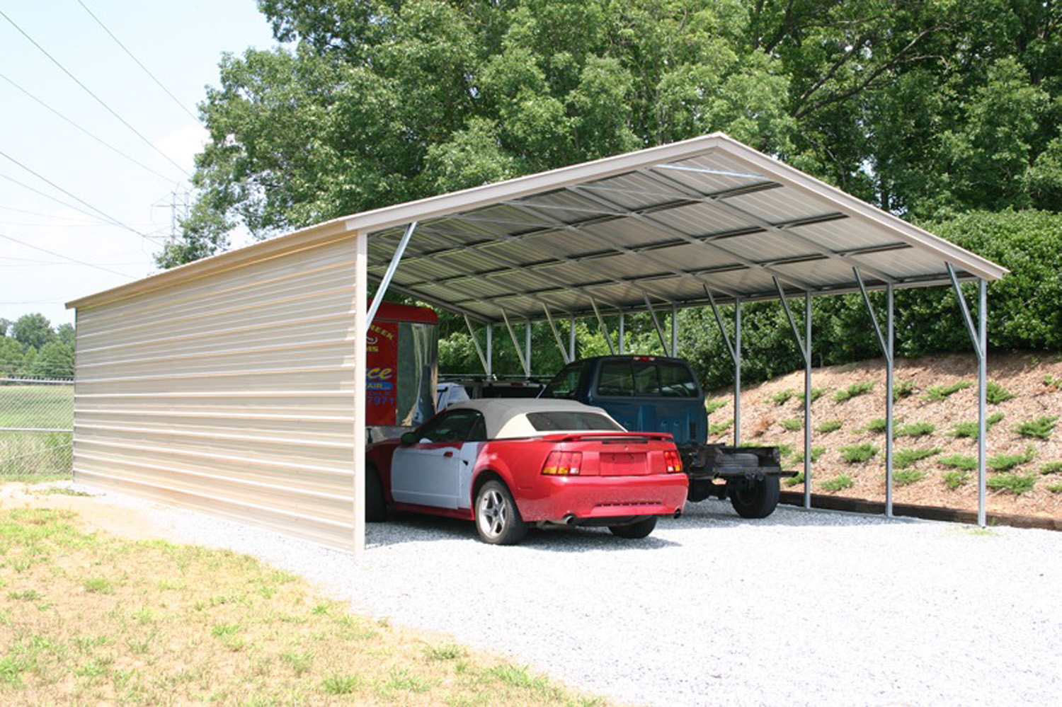 Vertical Roof Carport Beige