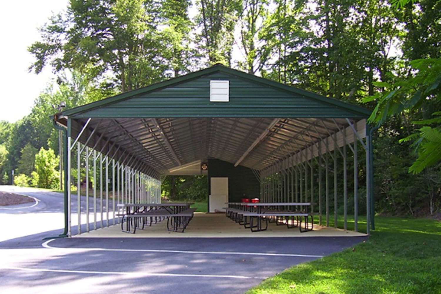 Green Vertical Roof Picnic Area Carport